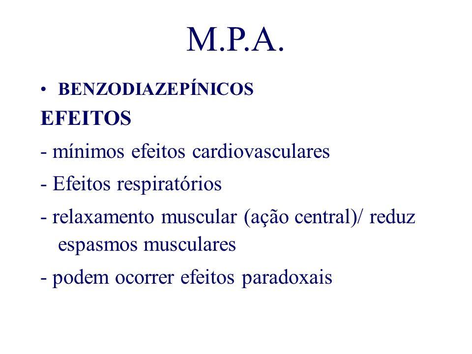 M.P.A. BENZODIAZEPÍNICOS EFEITOS - mínimos efeitos cardiovasculares - Efeitos respiratórios - relaxamento muscular (ação central)/ reduz espasmos musc