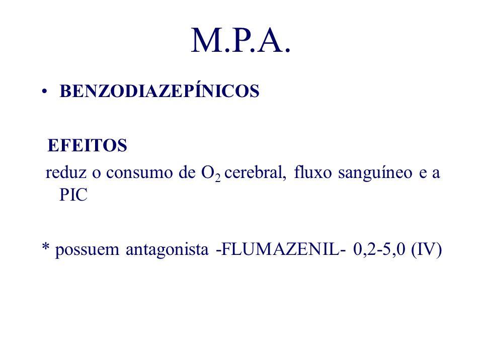 M.P.A. BENZODIAZEPÍNICOS -EFEITOS reduz o consumo de O 2 cerebral, fluxo sanguíneo e a PIC * possuem antagonista -FLUMAZENIL- 0,2-5,0 (IV)