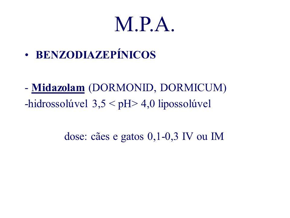 M.P.A. BENZODIAZEPÍNICOS - Midazolam (DORMONID, DORMICUM) -hidrossolúvel 3,5 4,0 lipossolúvel dose: cães e gatos 0,1-0,3 IV ou IM
