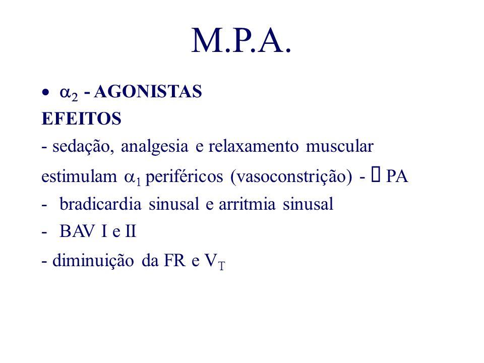 M.P.A. - AGONISTAS EFEITOS - sedação, analgesia e relaxamento muscular estimulam periféricos (vasoconstrição) - PA -bradicardia sinusal e arritmia sin