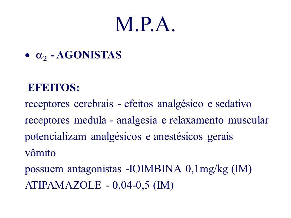M.P.A. - AGONISTAS EFEITOS: receptores cerebrais - efeitos analgésico e sedativo receptores medula - analgesia e relaxamento muscular potencializam an
