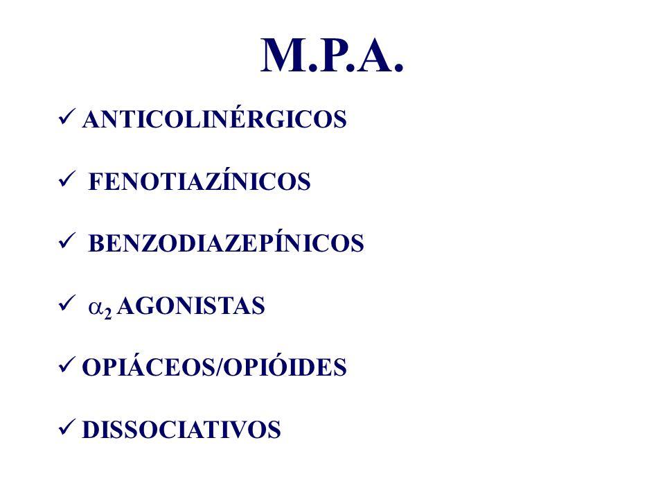 M.P.A. ANTICOLINÉRGICOS FENOTIAZÍNICOS BENZODIAZEPÍNICOS 2 AGONISTAS OPIÁCEOS/OPIÓIDES DISSOCIATIVOS