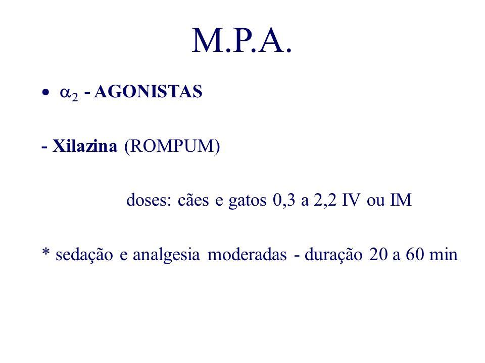 M.P.A. - AGONISTAS - Xilazina (ROMPUM) doses: cães e gatos 0,3 a 2,2 IV ou IM * sedação e analgesia moderadas - duração 20 a 60 min
