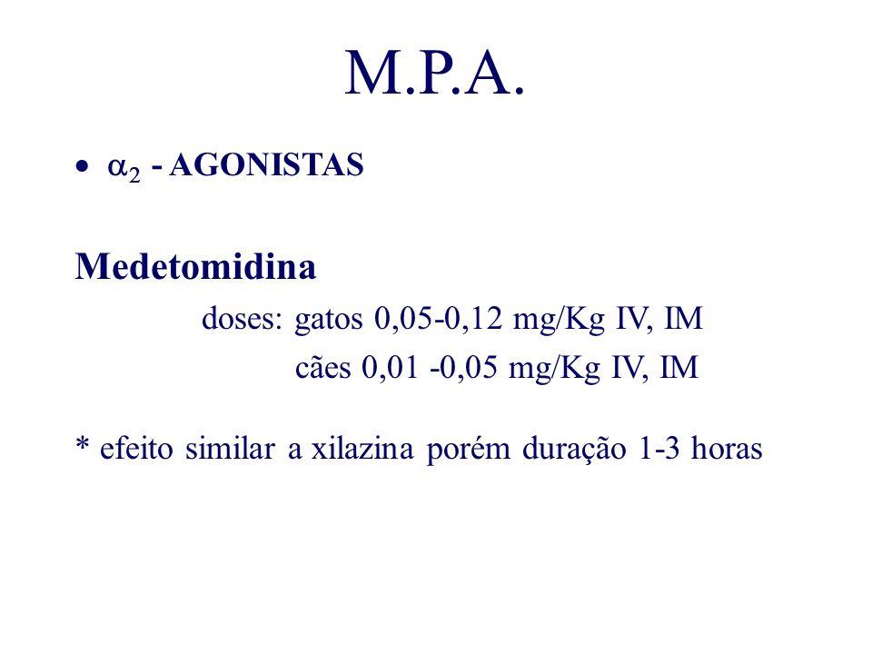 M.P.A. - AGONISTAS Medetomidina doses: gatos 0,05-0,12 mg/Kg IV, IM cães 0,01 -0,05 mg/Kg IV, IM * efeito similar a xilazina porém duração 1-3 horas