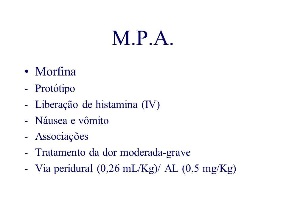 M.P.A. Morfina -Protótipo -Liberação de histamina (IV) -Náusea e vômito -Associações -Tratamento da dor moderada-grave -Via peridural (0,26 mL/Kg)/ AL