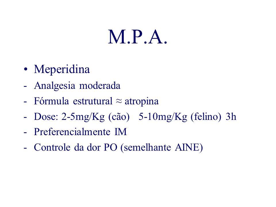 M.P.A. Meperidina -Analgesia moderada -Fórmula estrutural atropina -Dose: 2-5mg/Kg (cão) 5-10mg/Kg (felino) 3h -Preferencialmente IM -Controle da dor