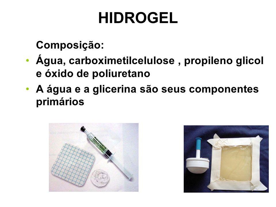 HIDROGEL Composição: Água, carboximetilcelulose, propileno glicol e óxido de poliuretano A água e a glicerina são seus componentes primários