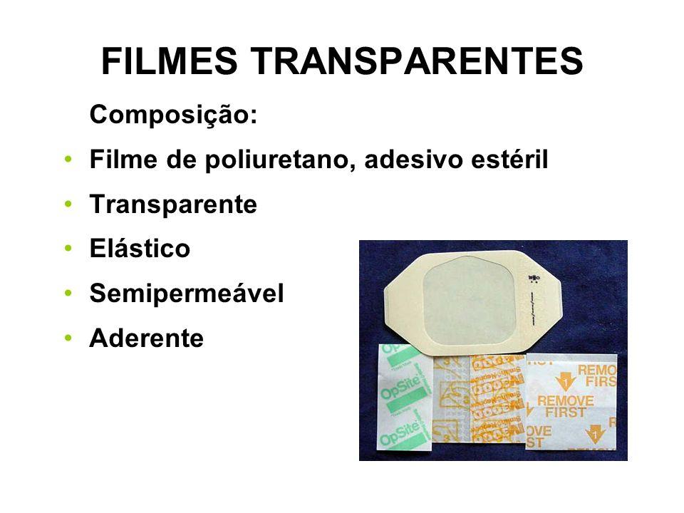 FILMES TRANSPARENTES Composição: Filme de poliuretano, adesivo estéril Transparente Elástico Semipermeável Aderente
