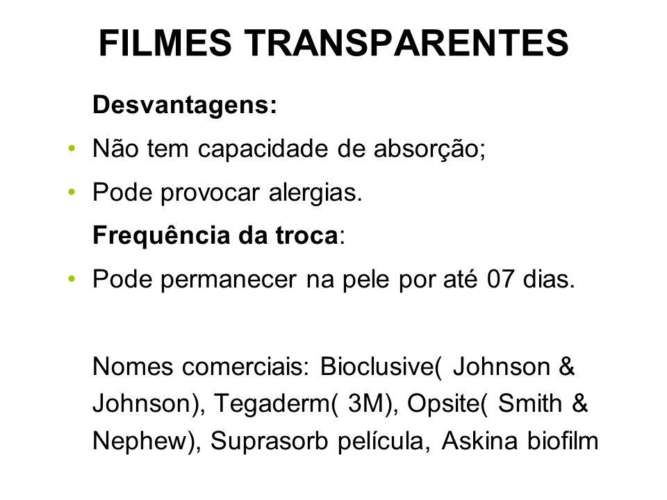 FILMES TRANSPARENTES Desvantagens: Não tem capacidade de absorção; Pode provocar alergias. Frequência da troca: Pode permanecer na pele por até 07 dia