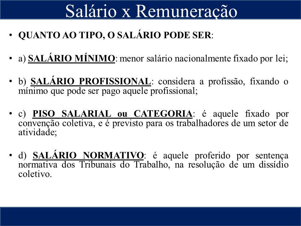 Valor do Salário QUANTO AO TIPO, O SALÁRIO PODE SER: a) SALÁRIO MÍNIMO: menor salário nacionalmente fixado por lei; b) SALÁRIO PROFISSIONAL: considera