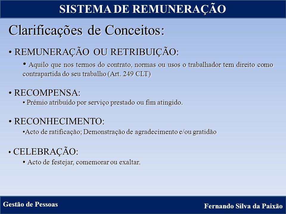 15 Clarificações de Conceitos: REMUNERAÇÃO OU RETRIBUIÇÃO: REMUNERAÇÃO OU RETRIBUIÇÃO: Aquilo que nos termos do contrato, normas ou usos o trabalhador