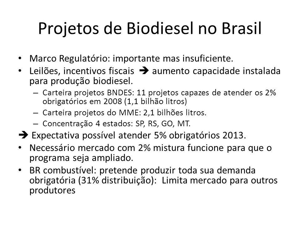Projetos de Biodiesel no Brasil Marco Regulatório: importante mas insuficiente. Leilões, incentivos fiscais aumento capacidade instalada para produção