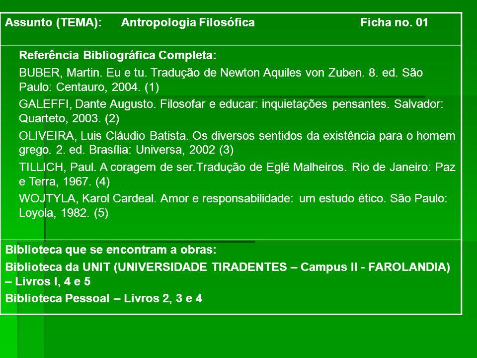 Assunto (TEMA): Antropologia Filosófica Ficha no. 01 Referência Bibliográfica Completa: BUBER, Martin. Eu e tu. Tradução de Newton Aquiles von Zuben.