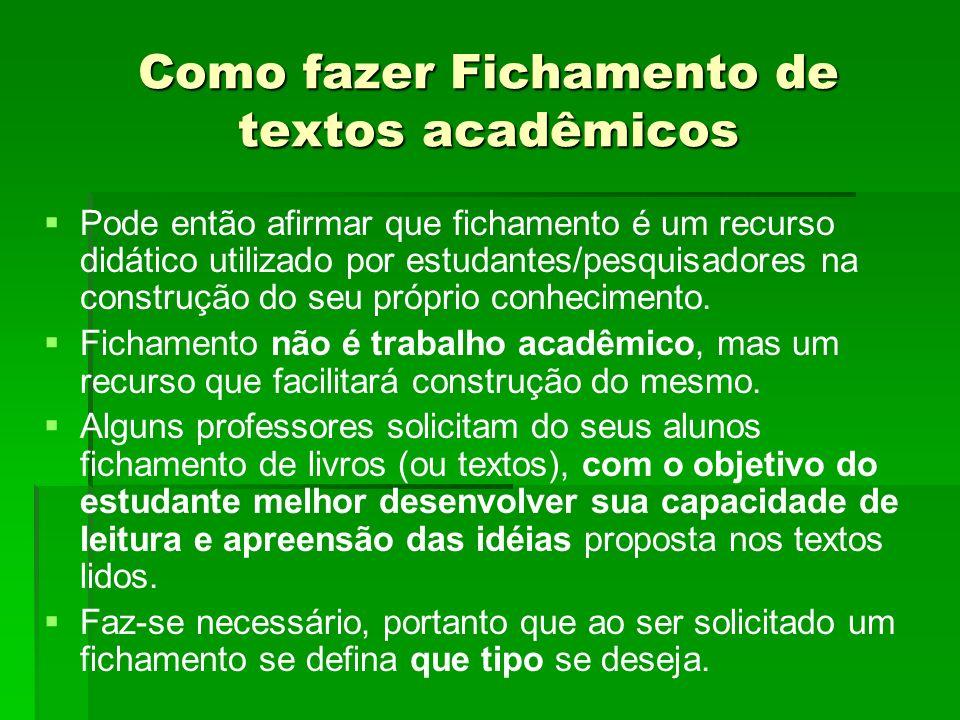 Como fazer Fichamento de textos acadêmicos Pode então afirmar que fichamento é um recurso didático utilizado por estudantes/pesquisadores na construçã