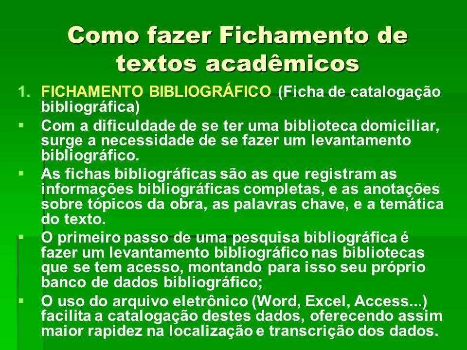 Como fazer Fichamento de textos acadêmicos 1. 1.FICHAMENTO BIBLIOGRÁFICO (Ficha de catalogação bibliográfica) Com a dificuldade de se ter uma bibliote