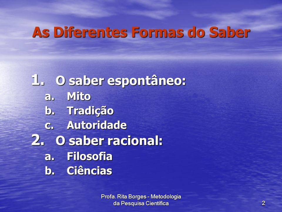 Profa.Rita Borges - Metodologia da Pesquisa Científica2 As Diferentes Formas do Saber 1.