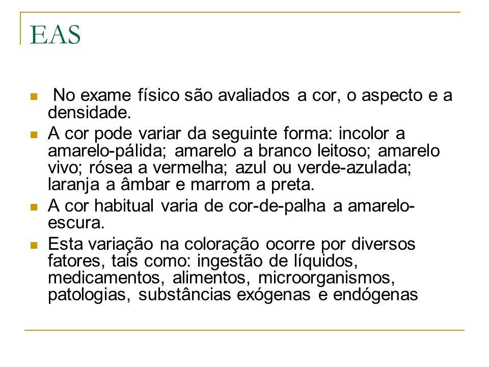EAS No exame físico são avaliados a cor, o aspecto e a densidade. A cor pode variar da seguinte forma: incolor a amarelo-pálida; amarelo a branco leit