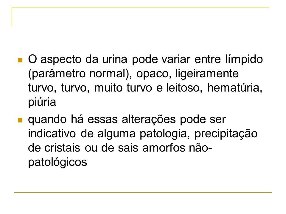 O aspecto da urina pode variar entre límpido (parâmetro normal), opaco, ligeiramente turvo, turvo, muito turvo e leitoso, hematúria, piúria quando há