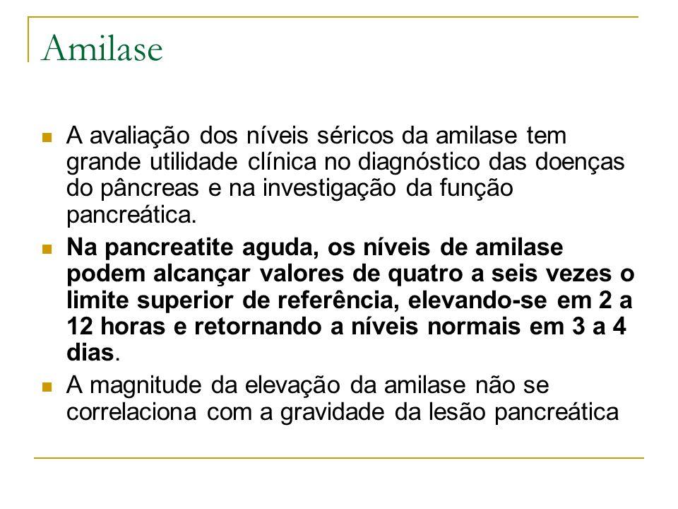 Amilase A avaliação dos níveis séricos da amilase tem grande utilidade clínica no diagnóstico das doenças do pâncreas e na investigação da função panc