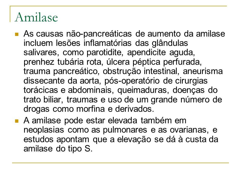 Amilase As causas não-pancreáticas de aumento da amilase incluem lesões inflamatórias das glândulas salivares, como parotidite, apendicite aguda, pren
