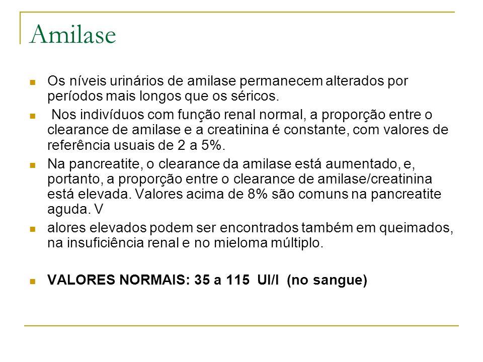 Amilase Os níveis urinários de amilase permanecem alterados por períodos mais longos que os séricos. Nos indivíduos com função renal normal, a proporç