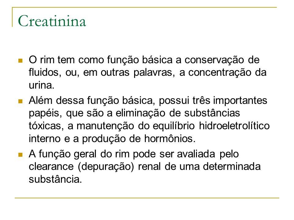 Creatinina O rim tem como função básica a conservação de fluidos, ou, em outras palavras, a concentração da urina. Além dessa função básica, possui tr