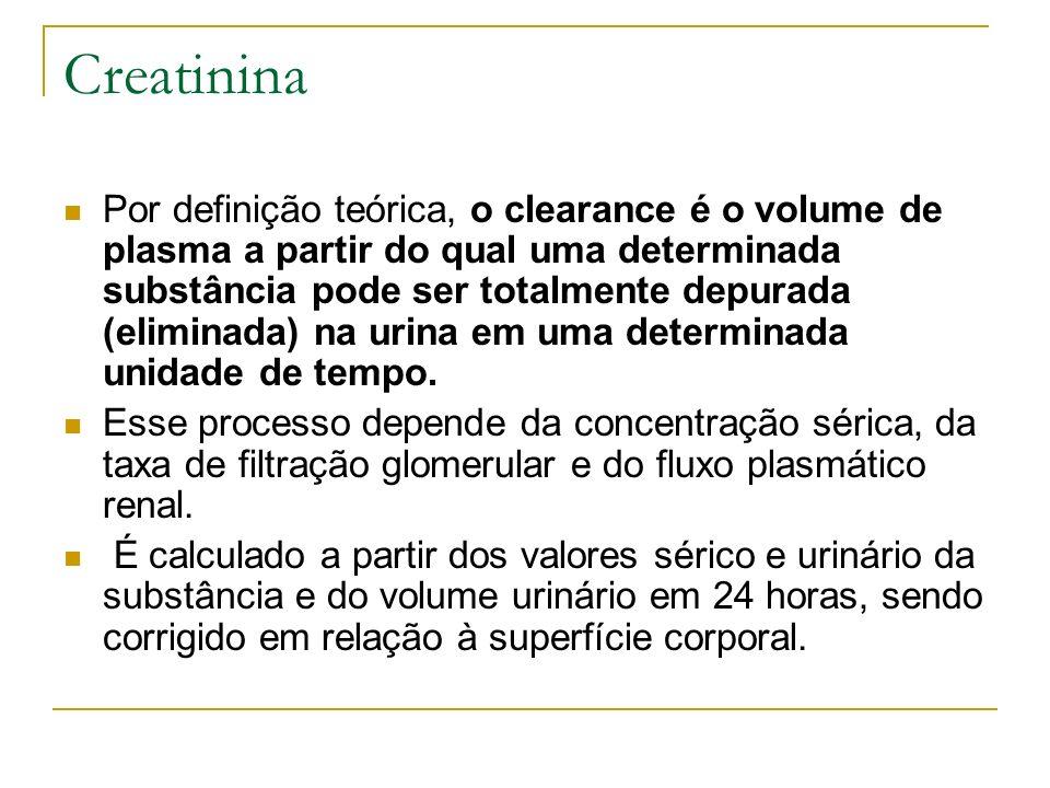 Creatinina Por definição teórica, o clearance é o volume de plasma a partir do qual uma determinada substância pode ser totalmente depurada (eliminada