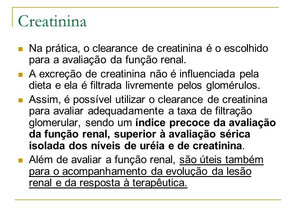 Creatinina Na prática, o clearance de creatinina é o escolhido para a avaliação da função renal. A excreção de creatinina não é influenciada pela diet