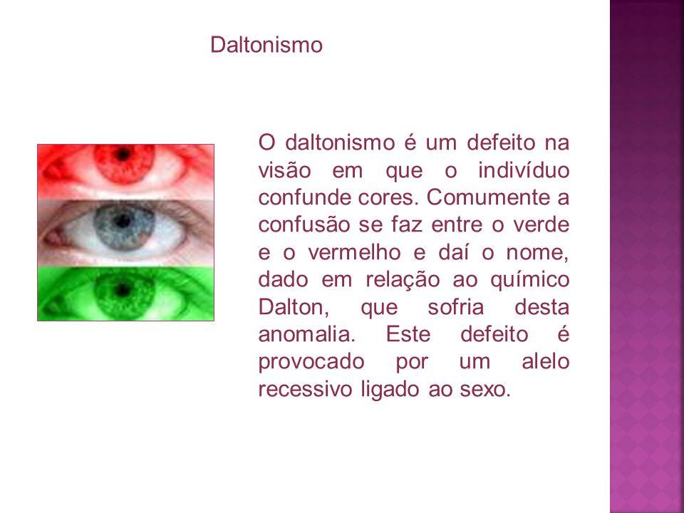 O daltonismo é um defeito na visão em que o indivíduo confunde cores. Comumente a confusão se faz entre o verde e o vermelho e daí o nome, dado em rel