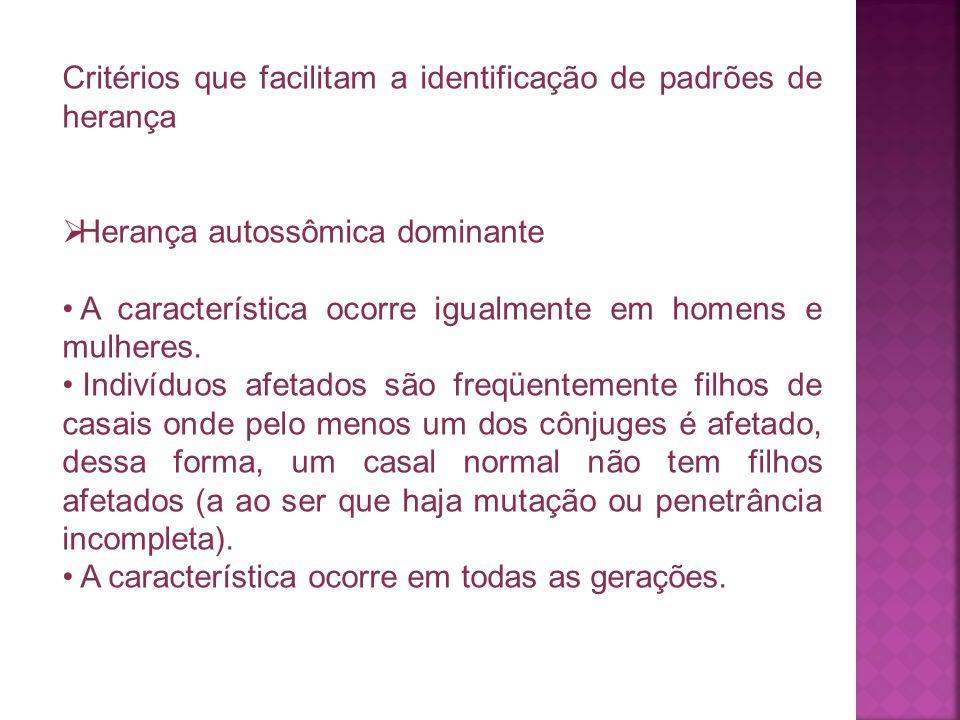 Critérios que facilitam a identificação de padrões de herança Herança autossômica dominante A característica ocorre igualmente em homens e mulheres. I