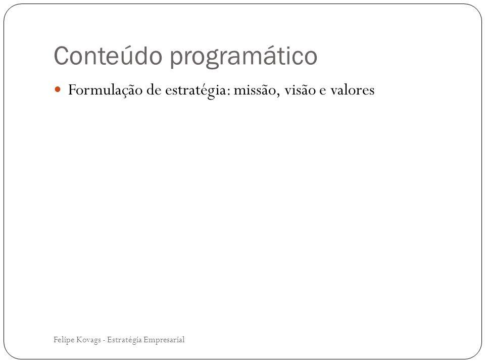 Conteúdo programático Formulação de estratégia: missão, visão e valores Felipe Kovags - Estratégia Empresarial