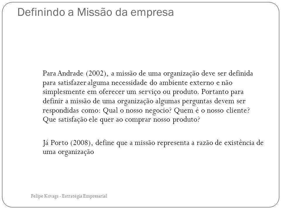 Definindo a Missão da empresa Felipe Kovags - Estratégia Empresarial Para Andrade (2002), a missão de uma organização deve ser definida para satisfaze