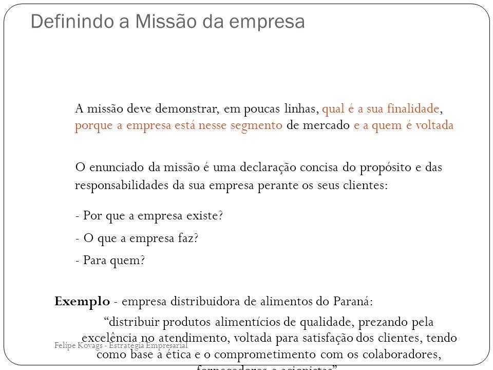 Definindo a Missão da empresa Felipe Kovags - Estratégia Empresarial A missão deve demonstrar, em poucas linhas, qual é a sua finalidade, porque a emp