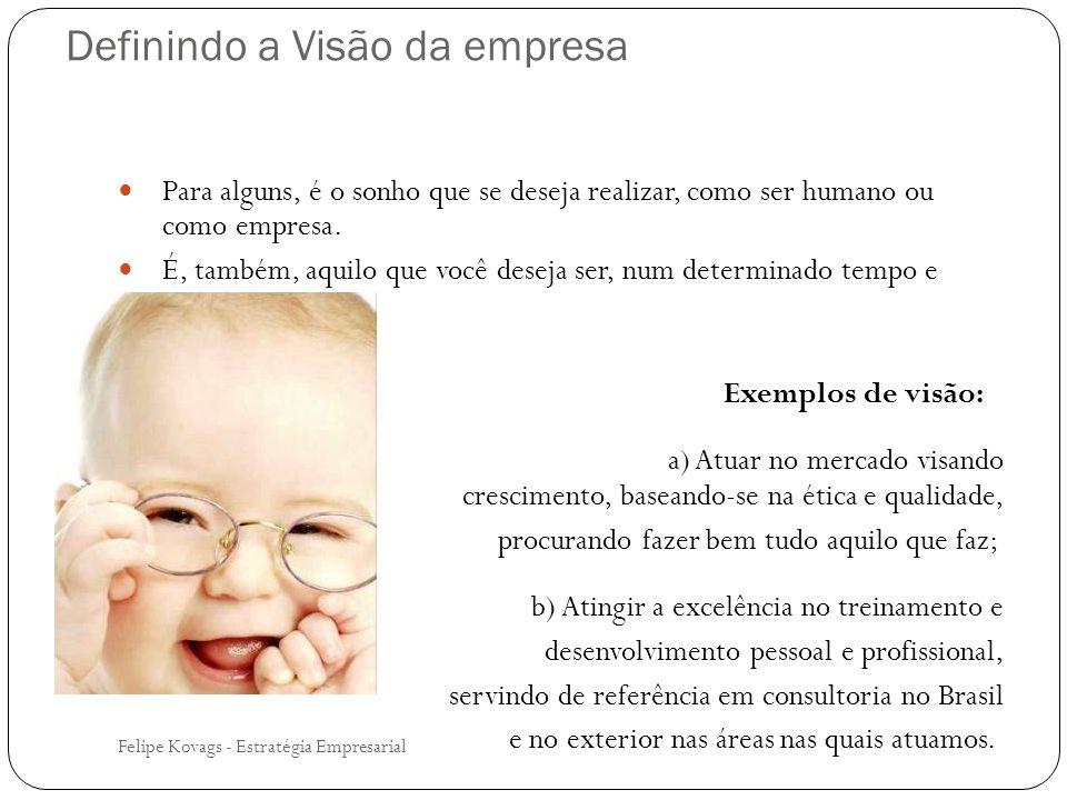 Felipe Kovags - Estratégia Empresarial Para alguns, é o sonho que se deseja realizar, como ser humano ou como empresa. É, também, aquilo que você dese
