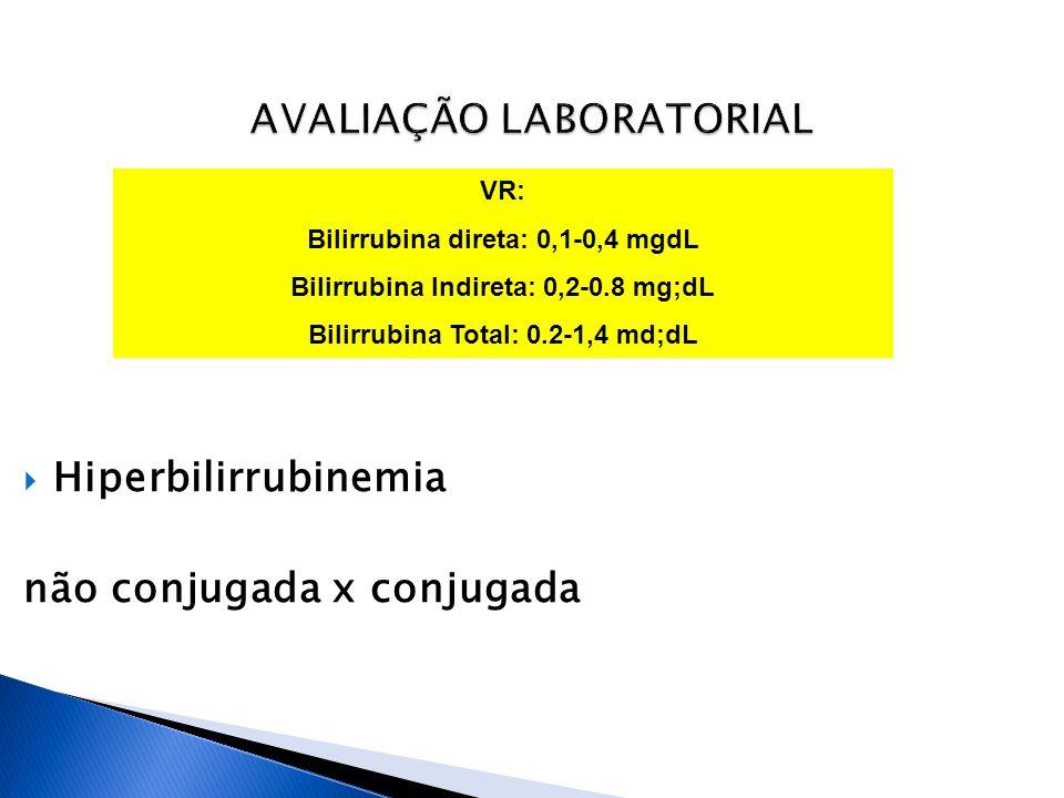 Hiperbilirrubinemia não conjugada x conjugada VR: Bilirrubina direta: 0,1-0,4 mgdL Bilirrubina Indireta: 0,2-0.8 mg;dL Bilirrubina Total: 0.2-1,4 md;d