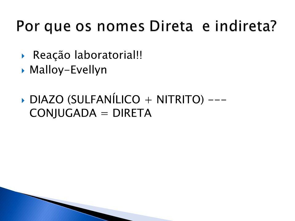 Reação laboratorial!! Malloy-Evellyn DIAZO (SULFANÍLICO + NITRITO) --- CONJUGADA = DIRETA