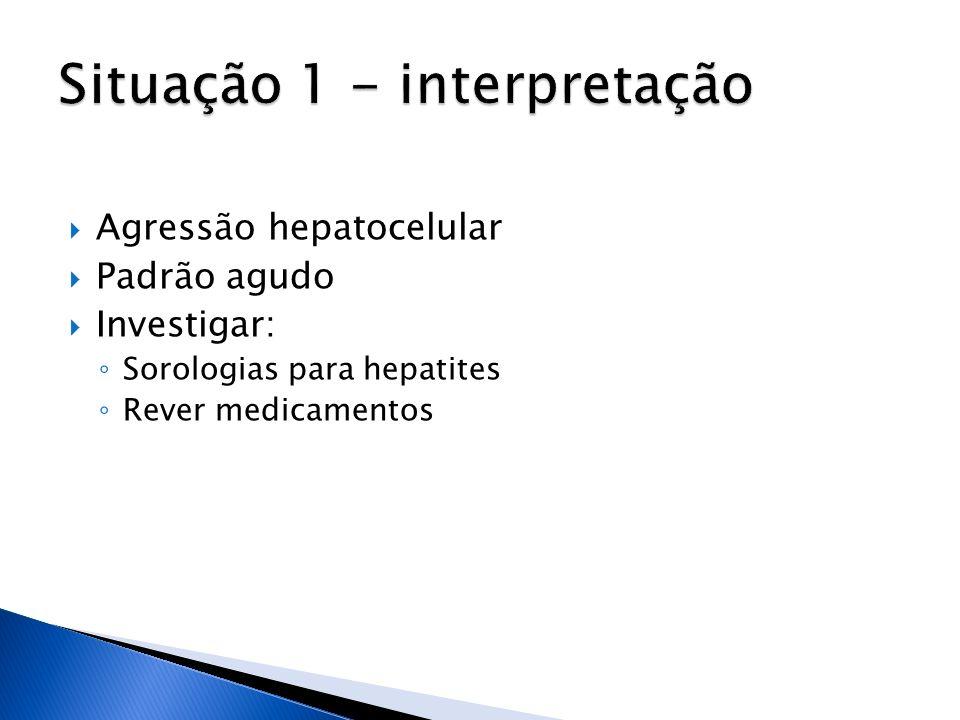Agressão hepatocelular Padrão agudo Investigar: Sorologias para hepatites Rever medicamentos