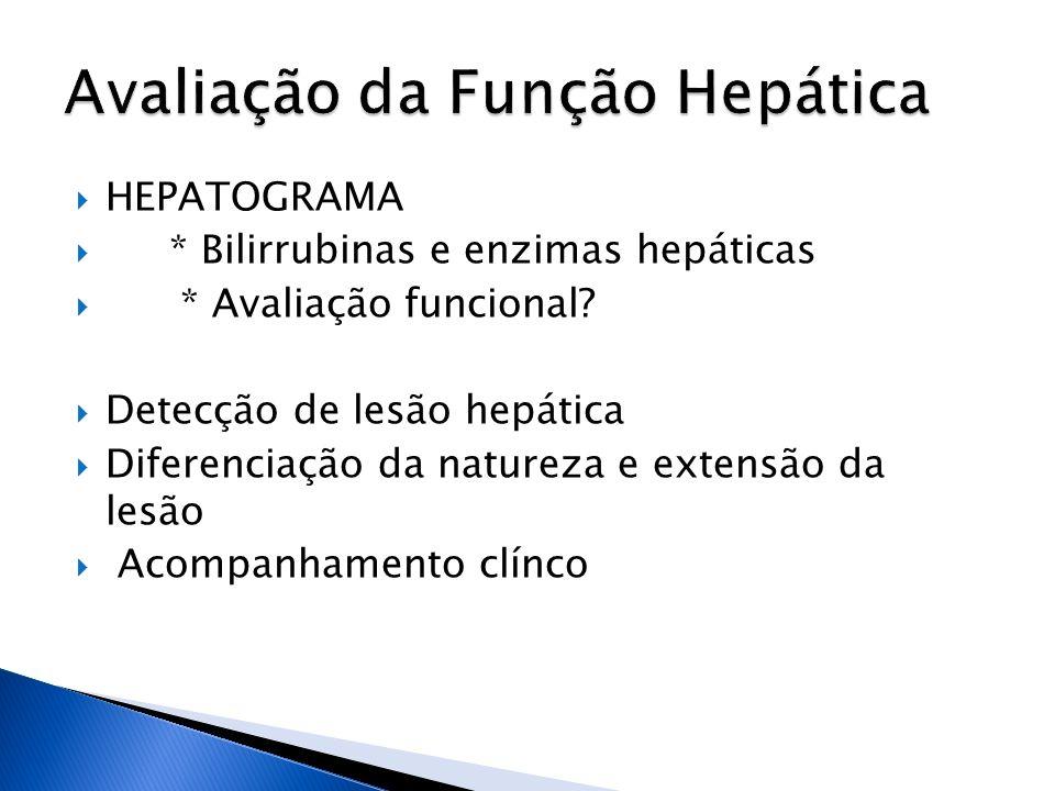 HEPATOGRAMA * Bilirrubinas e enzimas hepáticas * Avaliação funcional? Detecção de lesão hepática Diferenciação da natureza e extensão da lesão Acompan