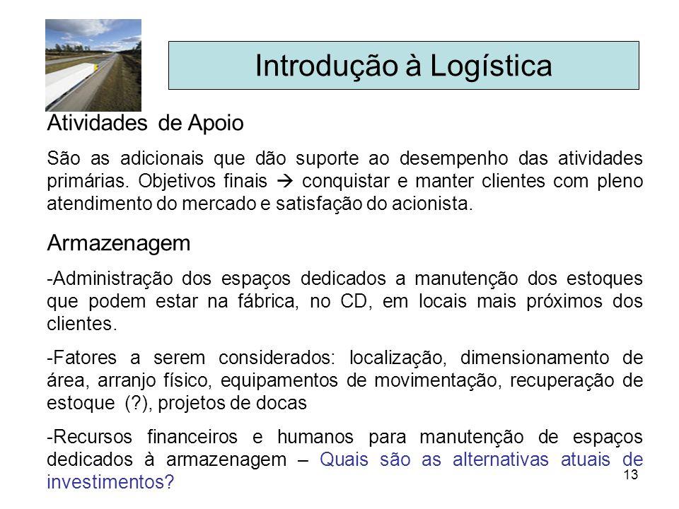 13 Introdução à Logística Atividades de Apoio São as adicionais que dão suporte ao desempenho das atividades primárias. Objetivos finais conquistar e