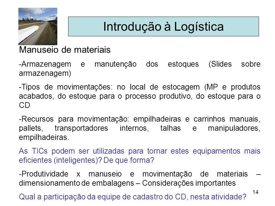 14 Introdução à Logística Manuseio de materiais -Armazenagem e manutenção dos estoques (Slides sobre armazenagem) -Tipos de movimentações: no local de