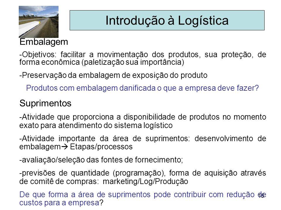15 Introdução à Logística Embalagem -Objetivos: facilitar a movimentação dos produtos, sua proteção, de forma econômica (paletização sua importância)
