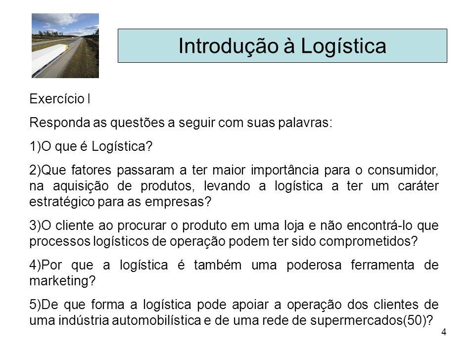 4 Introdução à Logística Exercício I Responda as questões a seguir com suas palavras: 1)O que é Logística? 2)Que fatores passaram a ter maior importân