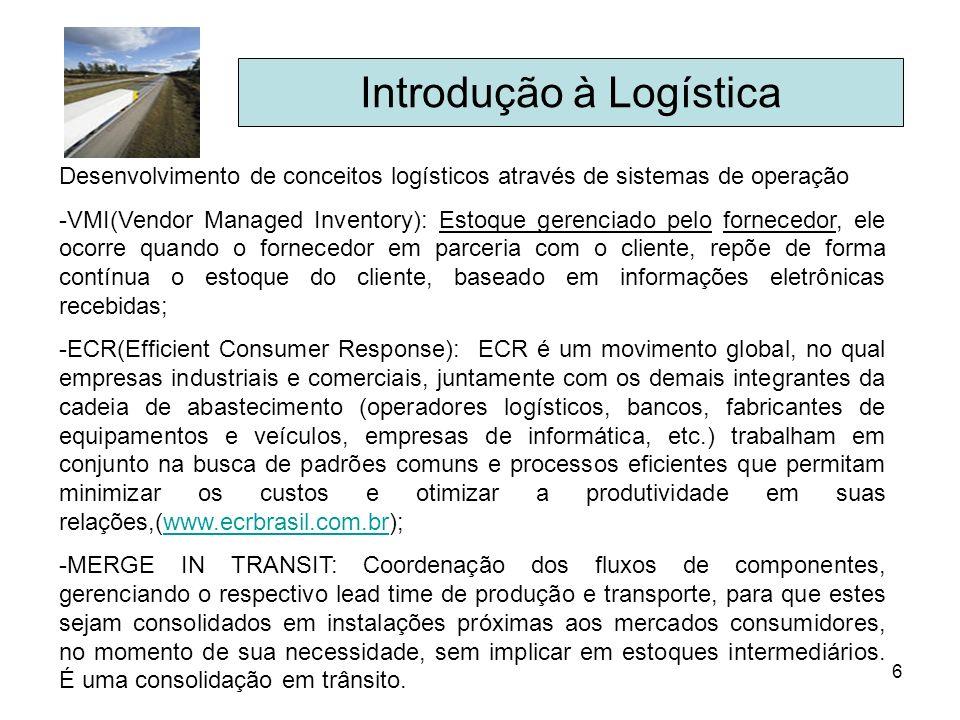 6 Introdução à Logística Desenvolvimento de conceitos logísticos através de sistemas de operação -VMI(Vendor Managed Inventory): Estoque gerenciado pe