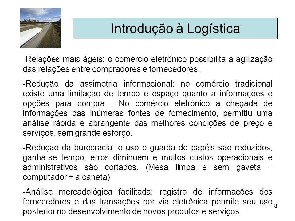 8 Introdução à Logística -Relações mais ágeis: o comércio eletrônico possibilita a agilização das relações entre compradores e fornecedores. -Redução
