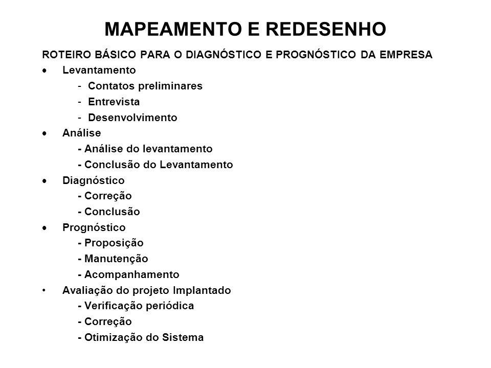 MAPEAMENTO E REDESENHO ROTEIRO BÁSICO PARA O DIAGNÓSTICO E PROGNÓSTICO DA EMPRESA Levantamento -Contatos preliminares -Entrevista -Desenvolvimento Aná