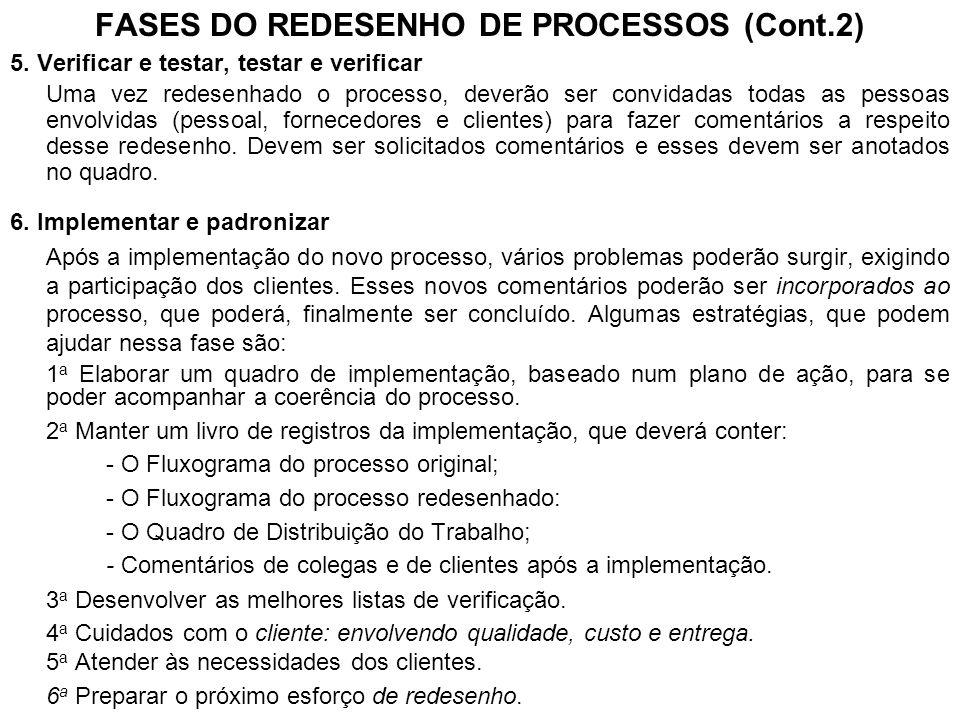 FASES DO REDESENHO DE PROCESSOS (Cont.2) 5. Verificar e testar, testar e verificar Uma vez redesenhado o processo, deverão ser convidadas todas as pes