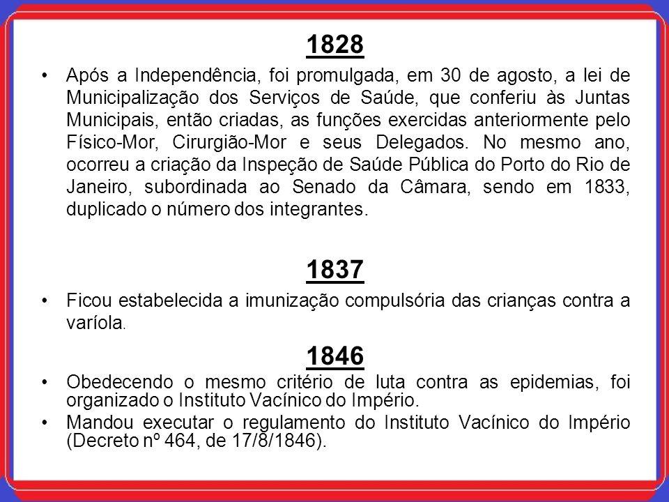 1828 Após a Independência, foi promulgada, em 30 de agosto, a lei de Municipalização dos Serviços de Saúde, que conferiu às Juntas Municipais, então c