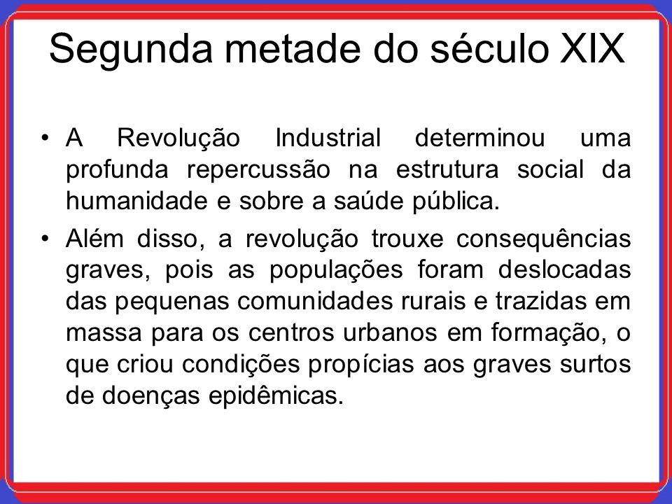 Segunda metade do século XIX A Revolução Industrial determinou uma profunda repercussão na estrutura social da humanidade e sobre a saúde pública. Alé