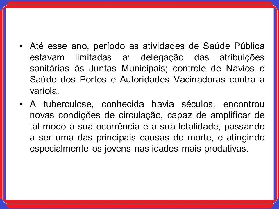Até esse ano, período as atividades de Saúde Pública estavam limitadas a: delegação das atribuições sanitárias às Juntas Municipais; controle de Navio