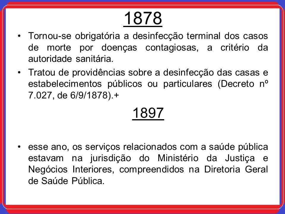 1878 Tornou-se obrigatória a desinfecção terminal dos casos de morte por doenças contagiosas, a critério da autoridade sanitária. Tratou de providênci